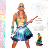 Be Wicked Green Purple Gold Ninja Turtle Babe Costume Dress SM NIP