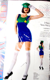 Be Wicked Green Blue Sexy Miss Luigi Costume Dress SM ML NIP