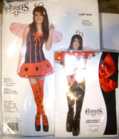 Ladybug Lady Bug Girls Costume Child Black Dress Red Bow Tights S 6-8 NIP