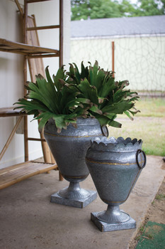 Large Zinc Urn With Square Base