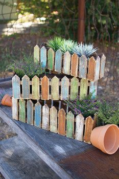 Set Of Three Wooden Picket Fence Planters