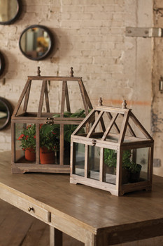 Set Of Two Wood & Glass Terrariums