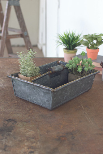 Metal Trug With Beaded Detail