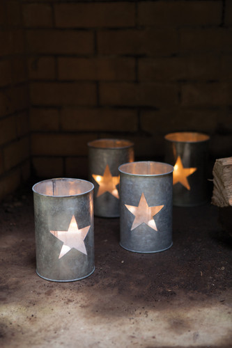 Four (4) Tin Star Luminary