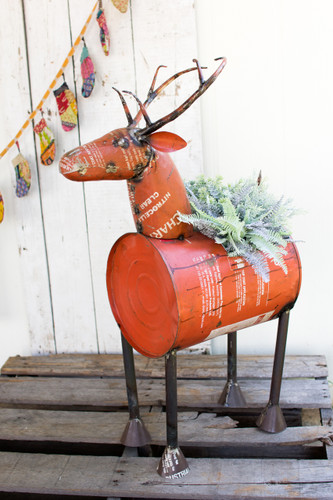 Red Reclaimed Metal Barrel Deer Planter Or Wine Cooler