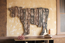 Giant Reclaimed Wood Cow Wall Hanging