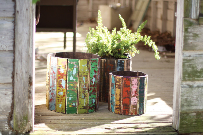 Set Of Three Recycled Round Wooden Planters
