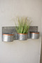 Three Zinc Horizontal Wall Planters With Copper Rims