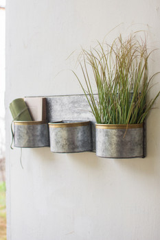 Three Zinc Horizontal Wall Planters With Brass Rims