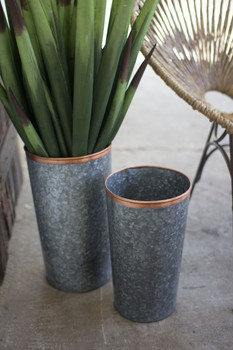 Set Of Two French Buckets With Copper Rims