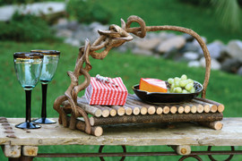 Two (2) Rectangular Twig Serving Trays With Crazy Vine Handle
