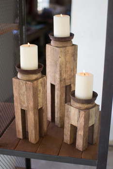 Set Of Three (3) Square Recycled Wood Candle Holders