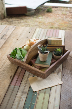Recycled Wooden Trug With Center Handle