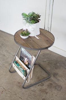 Round Metal Accent Table With Slat Wood Top And Canvas Magazine Holders