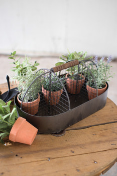 Metal Trug With Wire Mesh Divider