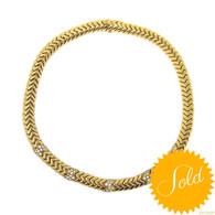 Bulgari Spiga Gold and Diamond Necklace
