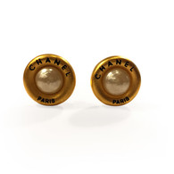Chanel Pearl and Gold Logo Earrings