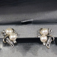 Zales Pearl and Diamond Earrings