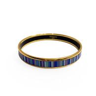 Hermès Blue Striped Narrow Bangle