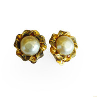 Chanel Pearl and Gold Earrings