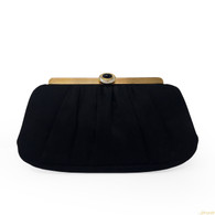 Judith Leiber Black Satin Clutch