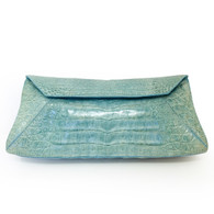 Nancy Gonzalez Aqua Crocodile Clutch