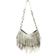 YSL Ivory Fringed Purse