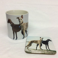 Standing Greyhounds Mug & Coaster Set
