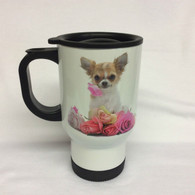 Chihuahua Design Chihuahua and Flower White Thermal Mug