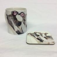 Wendy & Puzzle Greyhounds Mug & Coaster Set