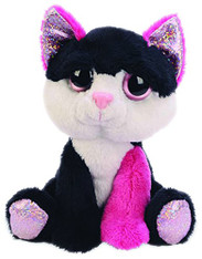 Suki Gifts Lil Peepers Fun Diva Pink and Black Cat Plush Toy with Silver Spar...