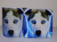 Husky Puppy With Blue Eyes Dog Mug and Coaster Set