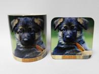 German Shepherd Puppy Dog Mug and Coaster Set
