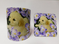 Golden Labrador Puppy  in Flowers Dog Mug and Coaster Set
