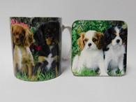 King Charles Spaniel Puppies Mug and Coaster Set