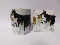 Smooth Hair Collie Dog Mug and Coaster Set