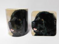 Newfoundland Dog Mug and Coaster Set