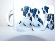 Boston Terrier Puppy Dog Mug and Coaster Set