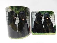 Russian Terrier Dog Mug and Coaster Set