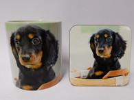 Dachshund Puppy Dog Mug and Coaster Set