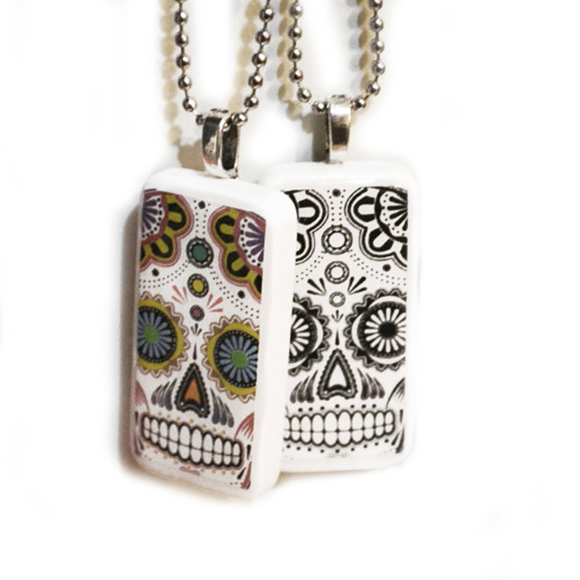 Sugar Skull Domino Pendant w/Chain OUT OF STOCK
