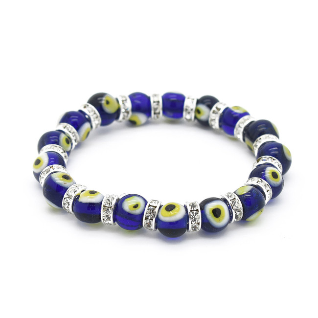 Cobalt Blue Evil Eye Glass Bracelet with yellow