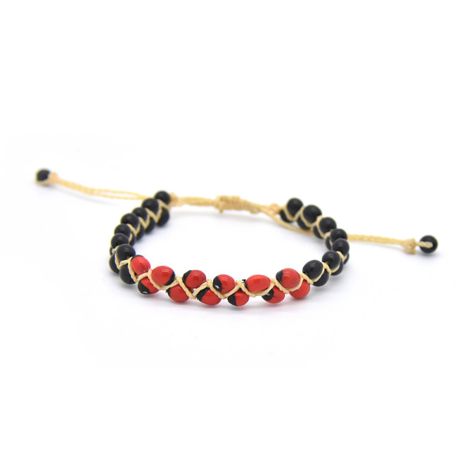Huayruro Seed Bracelet - Red and Black, Center Pattern