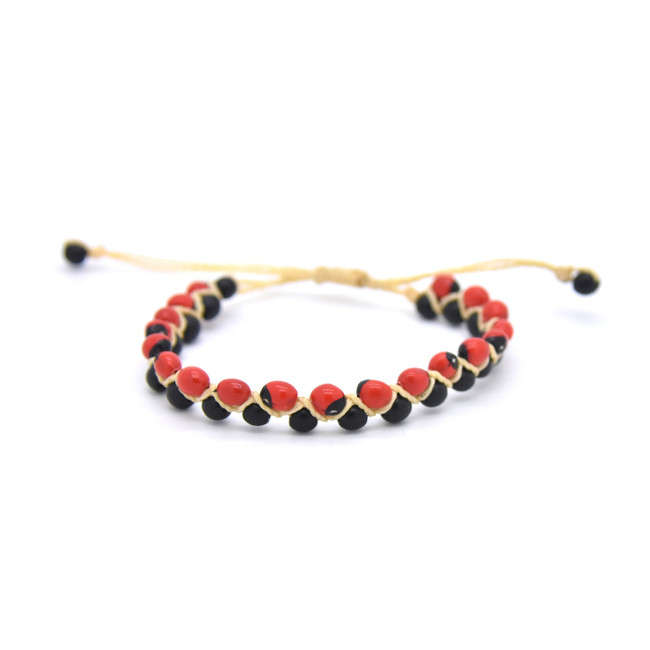 Huayruro Seed Bracelet - Red and Black, Left & Right Pattern