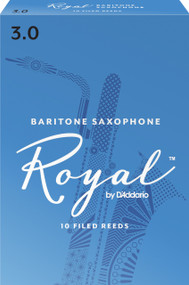 Rico Royal Baritone Sax Reeds, Strength 3.0, 10-pack