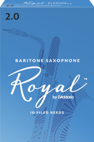 Rico Royal Baritone Sax Reeds, Strength 2.0, 10-pack