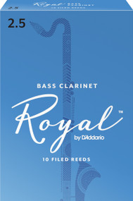 Rico Royal Bass Clarinet Reeds, Strength 2.5, 10-pack
