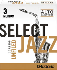 Rico Select Jazz Alto Sax Reeds, Unfiled, Strength 3 Strength Medium, 10-pack