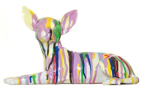 """Interior Illusions Graffiti Chihuahua Dog Laying Sculpture - 11"""" long."""