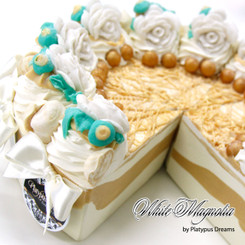 White Magnolia Soap Cake Slice